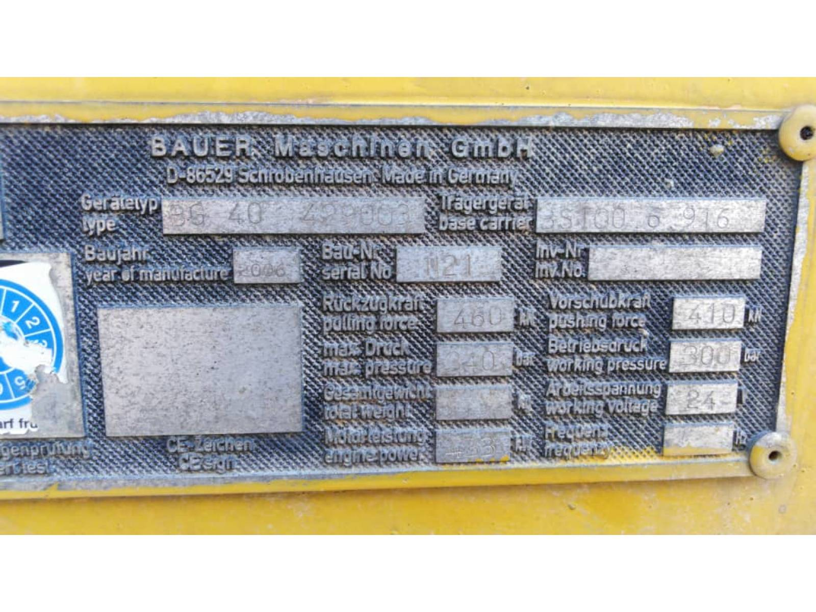 BAUER BG40 BORING RIG