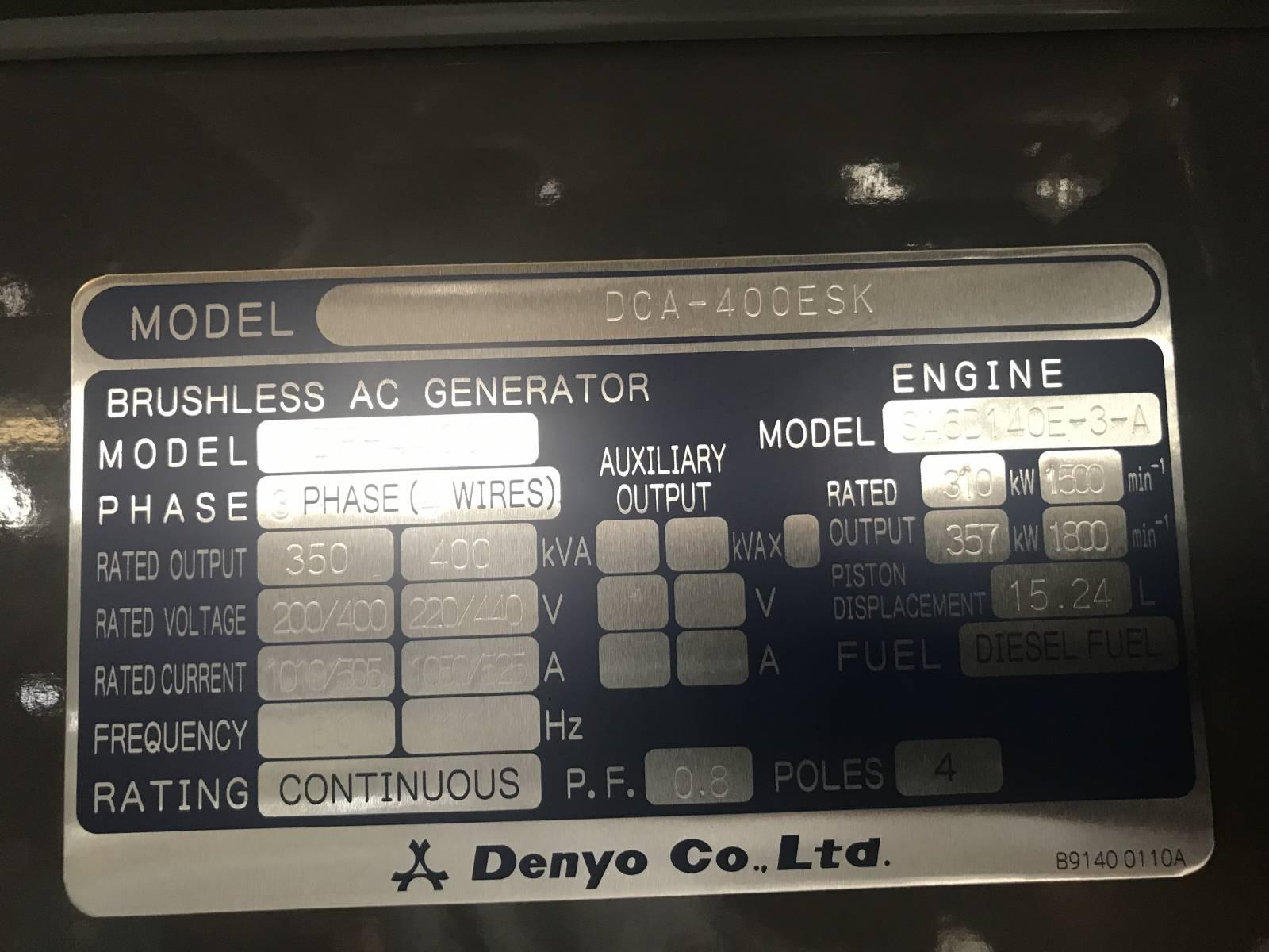NEW DENYO 400 KVA DIESEL GENERATOR